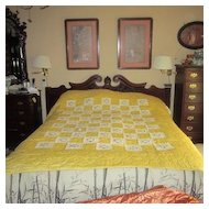 Vintage Hand Quilted Yellow Quilt with Embroidered Flowers