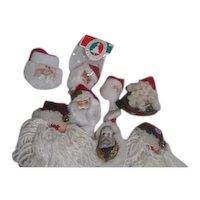 Set of 8 Santa Face Hanging Christmas Tree Ornaments