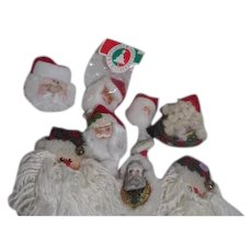 Set of 8 Santa Face Hanging Christmas Tree Ornaments