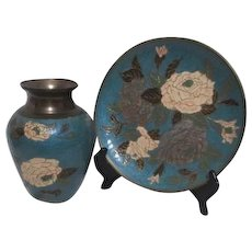 Early Indian Enamel on brass Matching Set of Vase and Display Plate