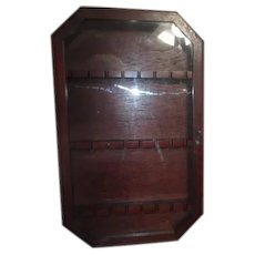 Wood Spoon Display Case Hinged Glass Door