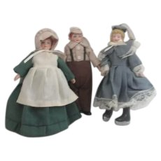 Three Christmas Tree Ornaments Victorian Style Dress Dolls