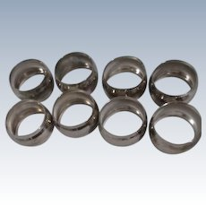 Set of 8 Silver Plated Napkin Rings with Scored Borders