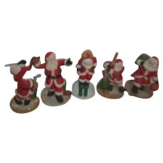 Set of 5 Sporty Santas