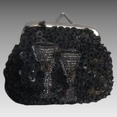 Black Sequined Coin Purse with Beaded Champagne Glasses and $ Sign Motif