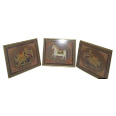Set of Three Framed Pictures Ornate Jeweled Indian Elephants and Horse