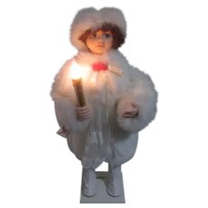 Animated Doll in White Faux Fur Holding Candle that Lights