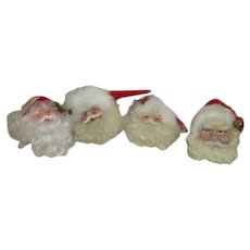 Set of 4 Santa Head Hanging Christmas Tree Ornaments