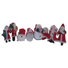 8 Cloth Hanging Christmas Tree Santas and Mrs. Claus