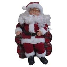 Santa Claus Snoozing In Plaid Chair Original Box