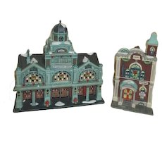 Department 56 Heritage Village Christmas in the City Series Two Buildings
