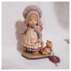 Anri of Italy Sarah Kay Woodcarving Girl with Doll in Wagon