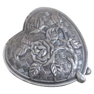 Silvertone Heart Shaped Compact with Mirror