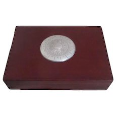 Wood Box with Two Decks of Playing Cards Compass Medallion on Lid