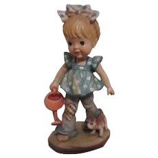 Anri of Italy Sarah Kay Collection Woodcarved Girl with Watering Can