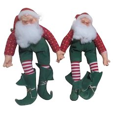Pair of Soft Body Santa Dolls