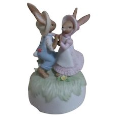 Enesco Music Box Two Waltzing Rabbits