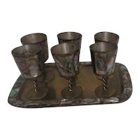 Set of 6 Brass Goblets on Tray with Mother-of-Pearl Inlay