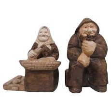 Fisherman and Wife Bookends from Denmark