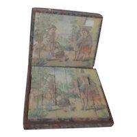 Antique Lithograph Children's Wooden Block Puzzle in Original Box
