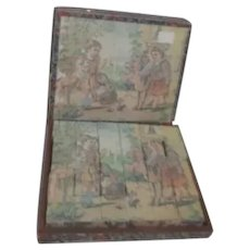 Antique Lithograph Children's Wooden Block Puzzle in Original Box