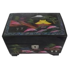 Japanese Black Lacquer Music/Jewelry Box with Dancing Ballerina