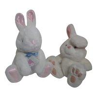 Pair of White Plush Bunny Rabbits
