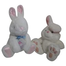 Pair of White Plush Bunny Rabbits