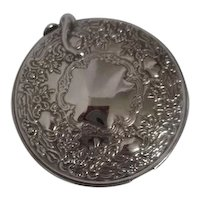 International Silver Company Ornate Silver Plated Double Mirror Compact