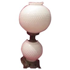 Old Hobnail Milk Glass Double Globe Table Lamp