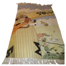 Rug or Wall Hanging Amelia Earhart in Airplane