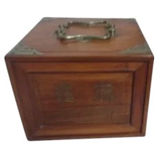 Mahjong Set in Wooden Chest with Carved Decoration