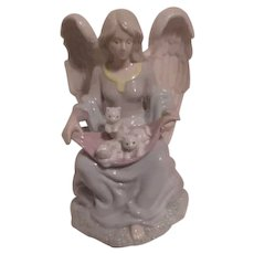 Porcelain Angel with Kittens Music Box