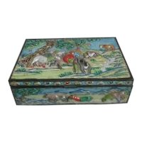 Antique Chinese Repousse Box with Animal Scenes
