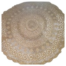 "62"" Round Hand Crocheted Tablecloth"
