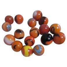 Set of 18 Orange Swirl Glass Marbles