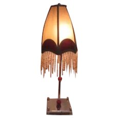 "25"" High Electric Table Lamp Beaded Fringe on Shade"