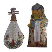 Set of Two Chinese Motif Metal Room Thermometers