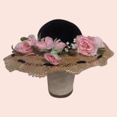 Lady's Straw Hat with Black Velvet Center