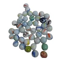 Set of 50 Glass Marbles Color Swirls on White