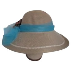 Lady's Straw Hat with Flower and Net Band