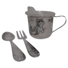 Princess House Silverplate Baby/Youth Cup Spoon and Fork