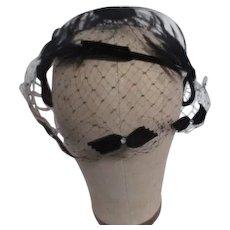 Dainty Black Net Over Frame Lady's Hat