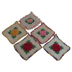 Set of 5 Hand Crocheted Potholders with Flower Center