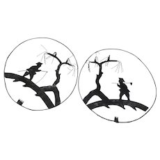 Pair of Black Metal Asian Silhouettes