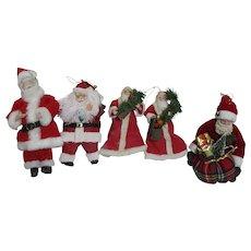 Set of 5 Christmas Decoration Santa Claus Figures