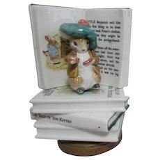 Ceramic Music Box Benjamin Bunny Atop Beatrix Potter Books