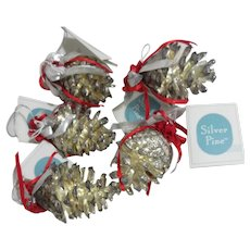 Set of 6 Silverplated Pine Cone Christmas Ornaments