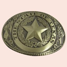 State of Texas Brass Belt Buckle