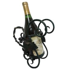 Sturdy Metal Wine Bottle Holder/ Caddy with Grapes and Grape Leaves